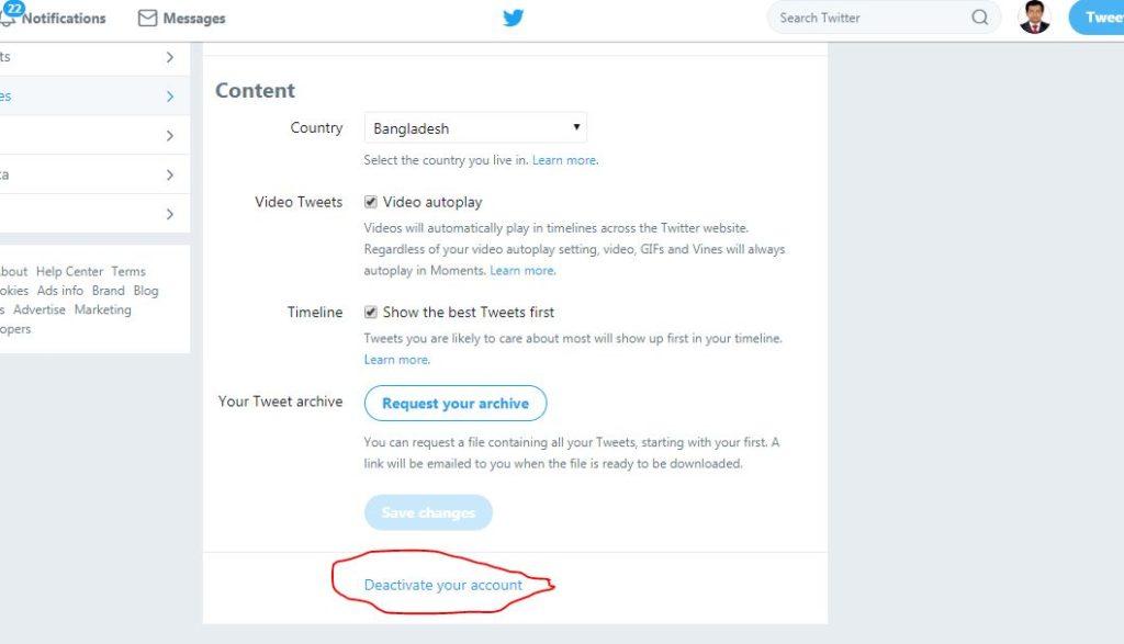 twitter deactivate