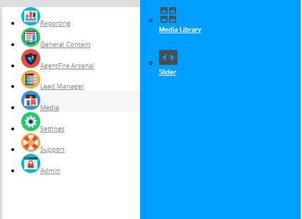 admin menu for admin dashboard