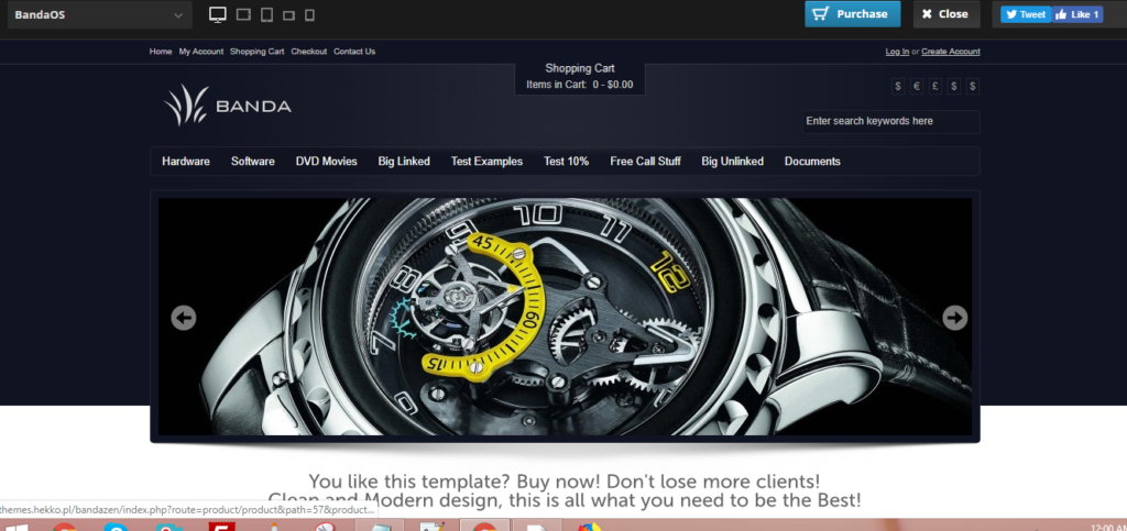 OsCommerce watch theme