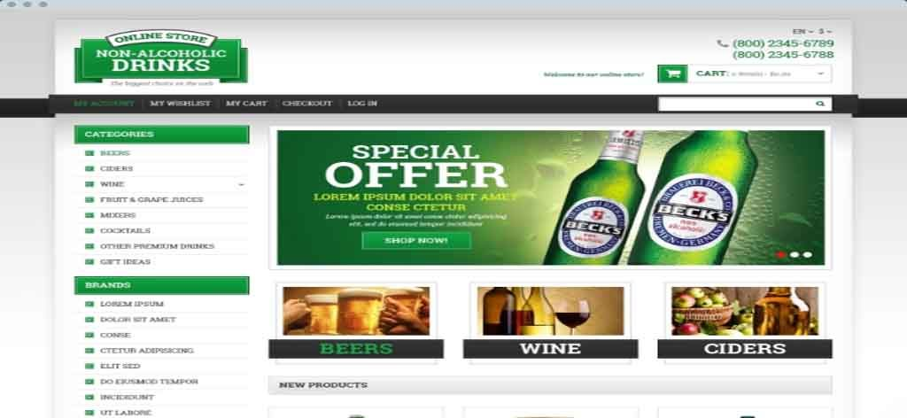 beverage and drink sell responsive theme