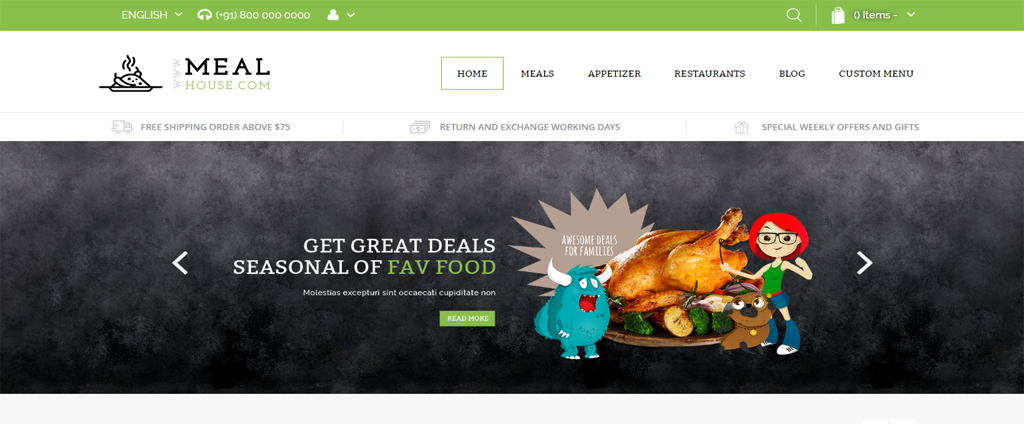 Meal theme magento