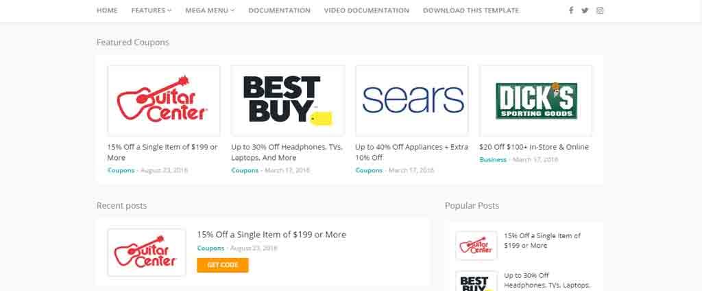 coupon blogspot theme