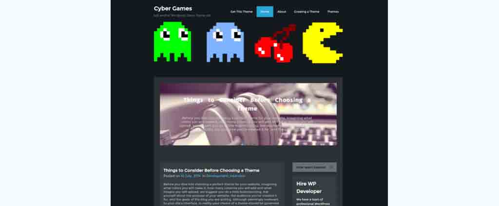 cyber games wordpress