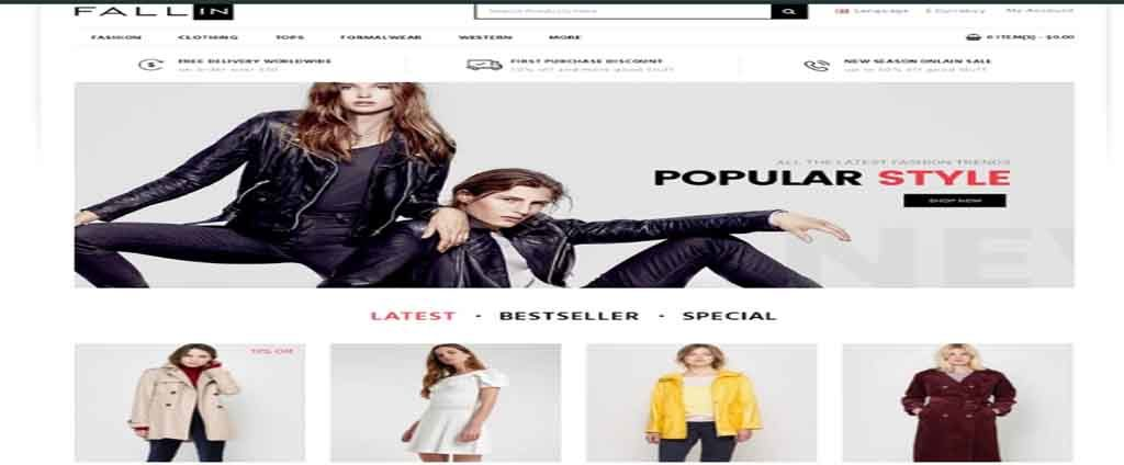 cloth  and dress  store template oprncart