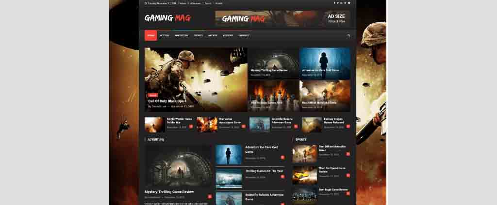 fighting gaming free wordpress theme