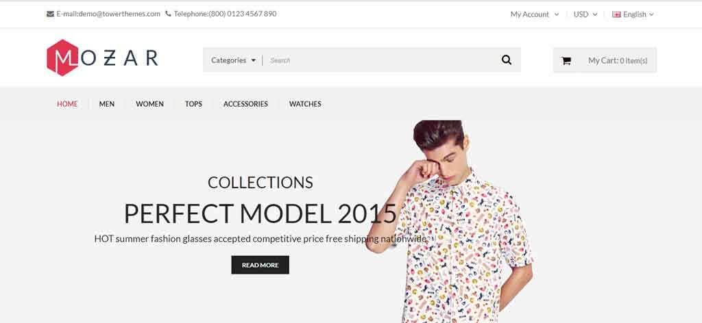 responsive opencart clothing theme