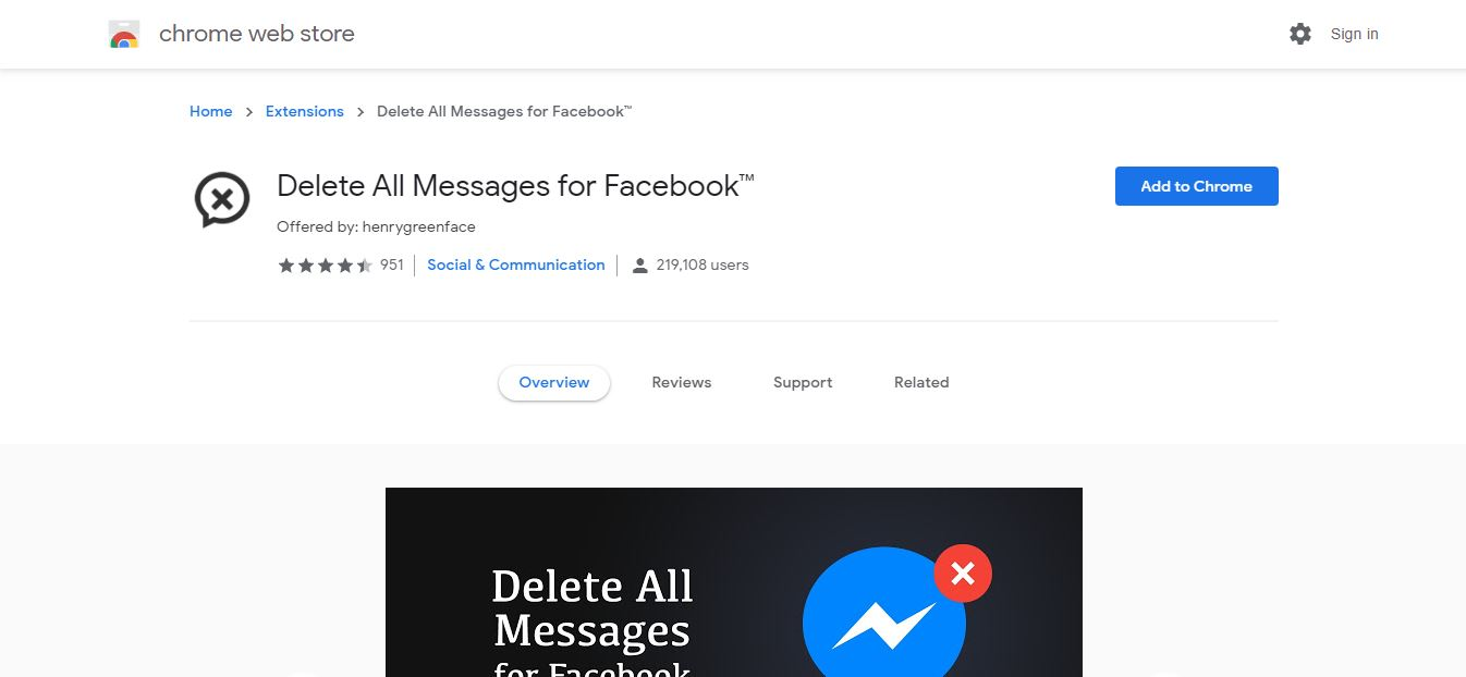 Delete All Messages for Facebook