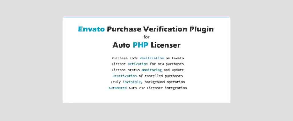 Evanto Purchase Verification Plugin For Auto PHP Licensor