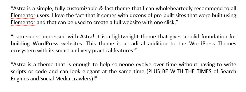 Astra theme comments