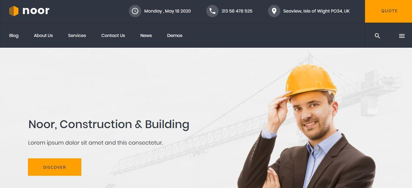 Construction Noor theme demos
