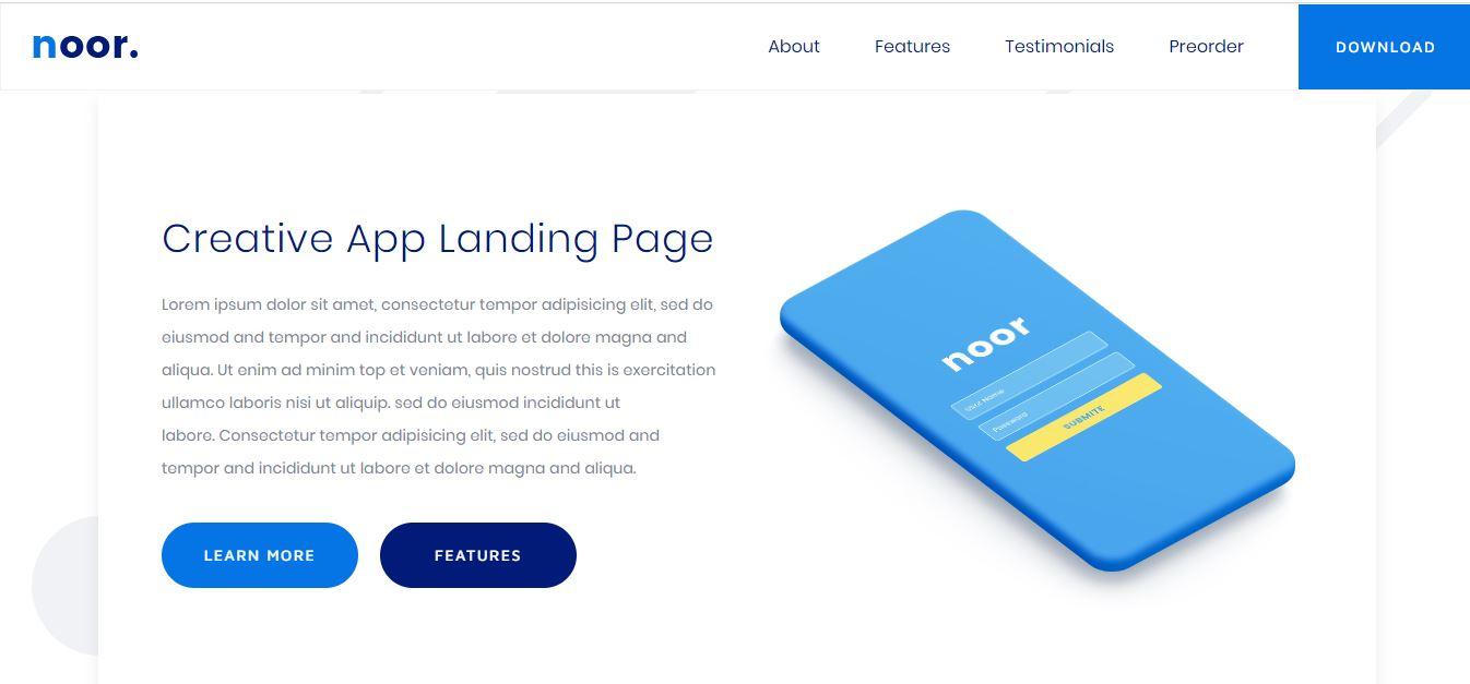 noor creative app landing page