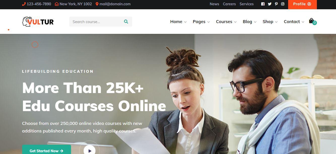 Coach Online Courses & LMS Education WordPress - Vultur