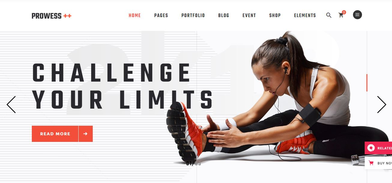 Prowess, a fitness and gym WordPress theme