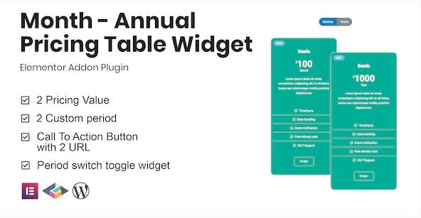 Annual Pricing Table Widget For Elementor